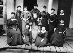 Female Indian Students & School Employee, Fort Totten ND