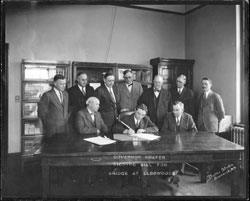 Governor Shafer Signing Bill for Bridge at Elbowood ND ca 1900