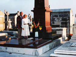Harold and Sheila Schafer in Front of de Mores Family Tombstone 1987