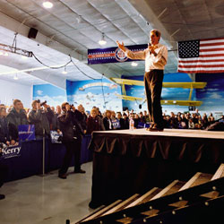John Kerry speaking at campaign rally, Fargo ND 02-01-2004