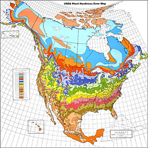 North American hardiness zone map