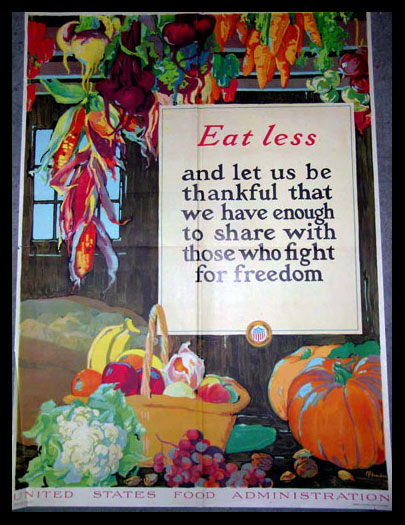 Eat Less and Be Thankful poster