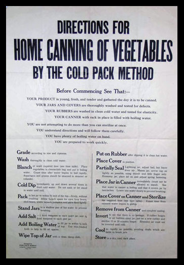 Directions for home canning vegetables