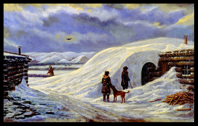 Fort Stevenson Winter Quarters painting by De Trobriand