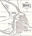 Medora Plat map showing gardens