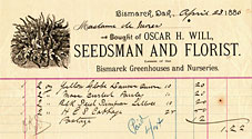 Madam de Mores receipt for vegetable seeds from Oscar H. Will & co. 1886