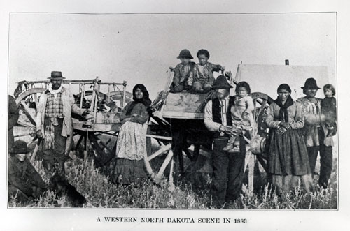 Metis family and Red River carts, A Western North Dakota Scene 1883