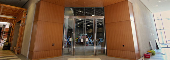 gallery entrance door in the Heritage Center Expansion