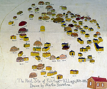 Like a Fishhook Village pictograph by Martin Bears Arm