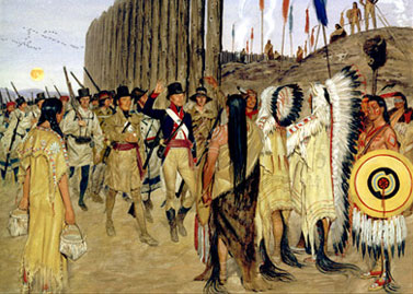meeting of expedition with native people