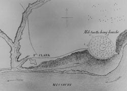 Fort Clark and Indian Village Drawing