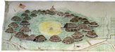 village sketch on muslin of village at fort clark