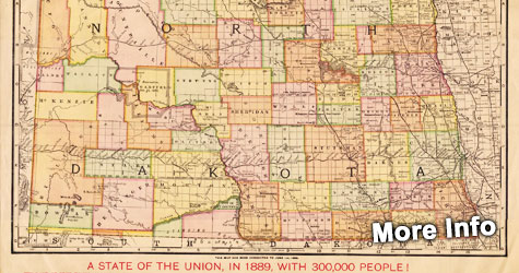 1889 Map of North Dakota
