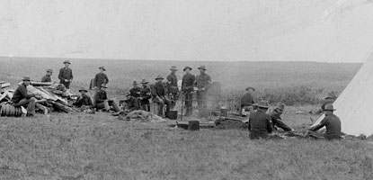 Soldiers and tent at Fort Pembina, DT