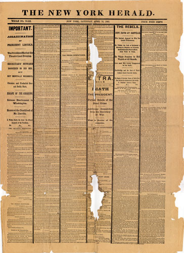 New York Herald, Lincoln Assassination