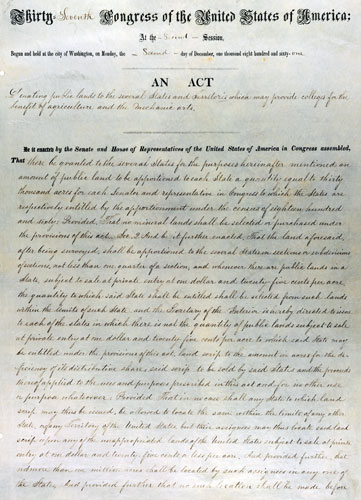 Morrill Land Act, First Page