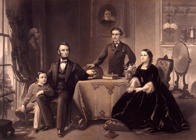 Engraving of Lincoln and Family