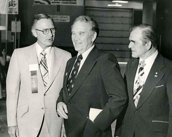 Gov. Guy, Sen. Burdick, and Gov. Link, Democratic Convention, Bismarck ND 1976