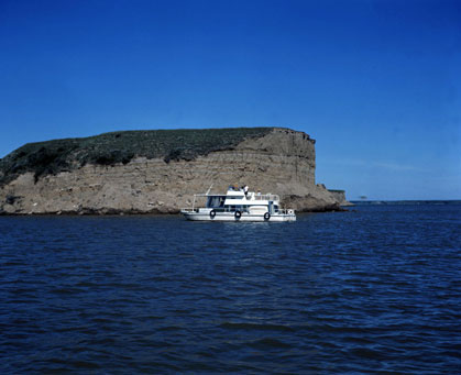 Cruiser Boat on Lake Sakakawea, 1970