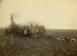 plowing with steam tractor