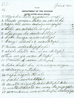 Beede's handwritten account of High Dog winter count
