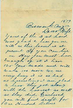 Connelly letter, August 1879