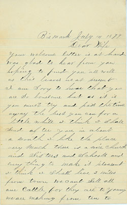 Connelly letter, July 1879