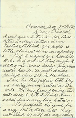 Holmes letter home from Amenia