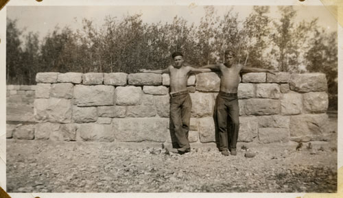 2 Men at a Stone Wall