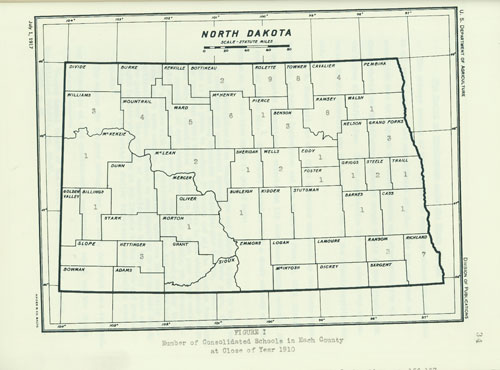 1910 Consolidated Schools Map