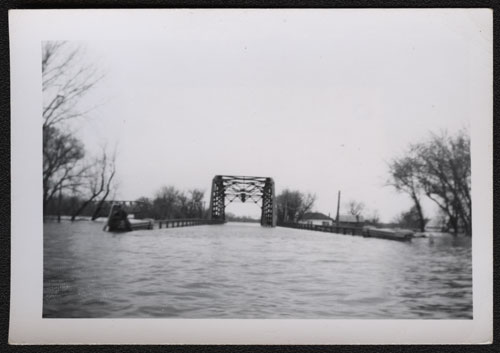 Flooded Red River Bridge in Pembina
